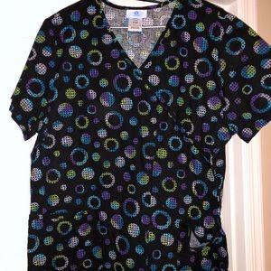 Tops - Circular pattern scrub top